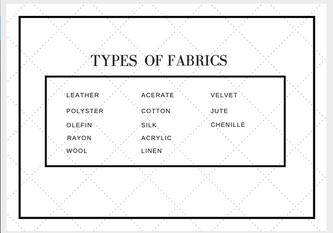 A Table of contents listing the different types of upholstery fabrics for home decor on leelathestore