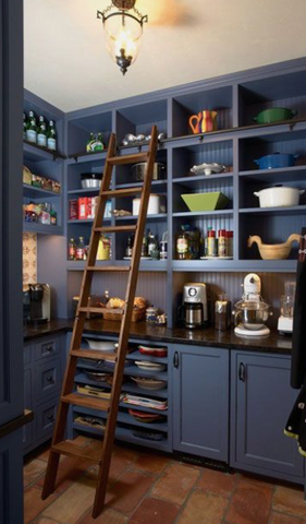 A wooden ladder in a home pantry as a style tip