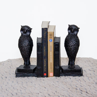 Owl bookends made in teak wood in black with details to die for!