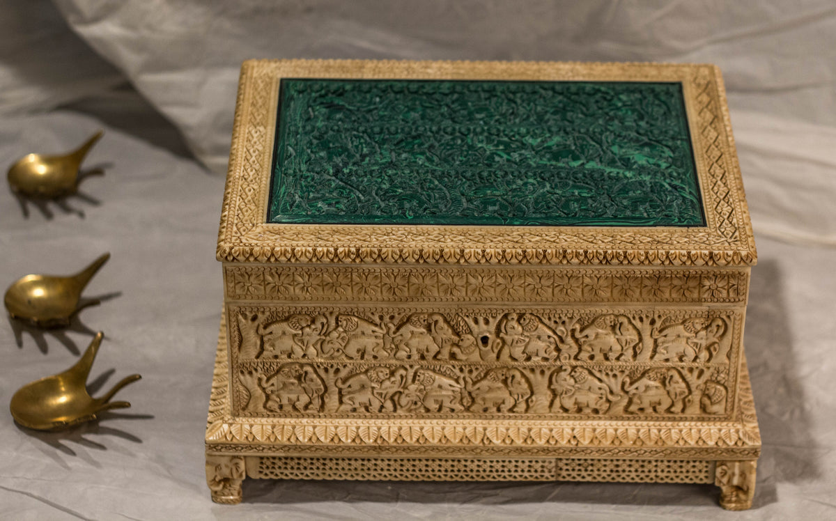 An Engraved Marble box with real engraved emerald stone hand carved