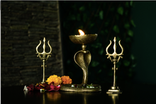 Load image into Gallery viewer, A Brass Trishul with an antique gold finish for your diwali decorations