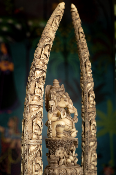 A Marble dust Ganesha with engraved details in an ivory finish