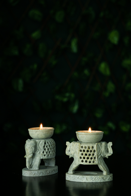 A soap Stone Leephant candle Stand for your Diwali Home Decor