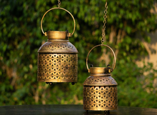 Load image into Gallery viewer, an antique gold jaali candle stand with provisions to hold tea light candles