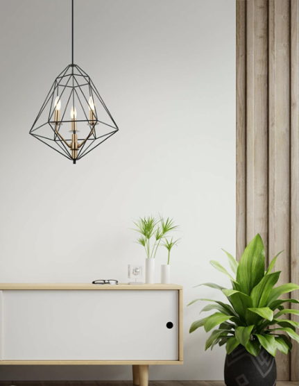 A black ceiling pendant light with a wired metal frame with three gold bulb portals within the frame.