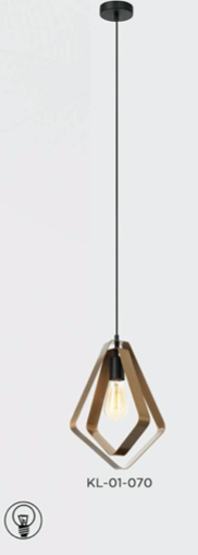 A brass pendant light in a copper finish suspended from the ceiling with a bulb portal within the frame
