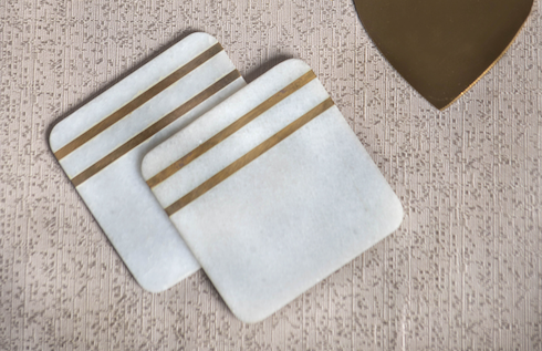 Marble coasters with a gold strip with standard coaster dimensions & a set of 4.