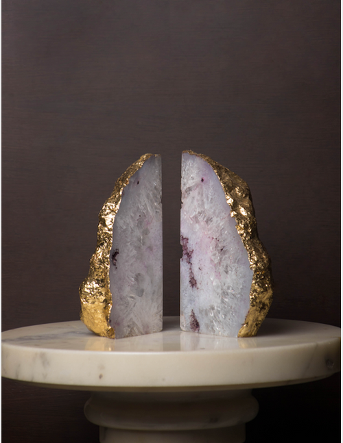 Agate Marble bookends, with a gold film back!!