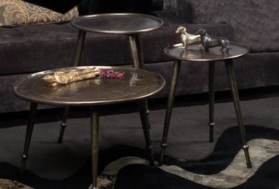 A collection of 3 tables, Made with brass & waterproof, is meant to always steal the show in any setting!
