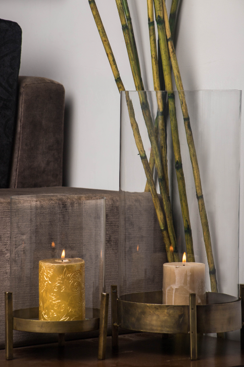 Made with 100% brass, the stands are adorned with Spiral glass cylinders, perfectly illuminating any setting!
