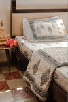 A King Size Quilt made from a 100% cotton, Washable and Handprinted with the beautiful prints of Jaipur.