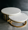 A set of sleek white marble food stand to present all your culinary creations with style and grace.