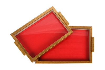A Tray embedded with state of the art fabric bound by sheesham wood. A 100% waterproof and food safe.