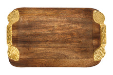 Load image into Gallery viewer, Made with Mango wood along with tow gold handles with a leaf detail on either end.