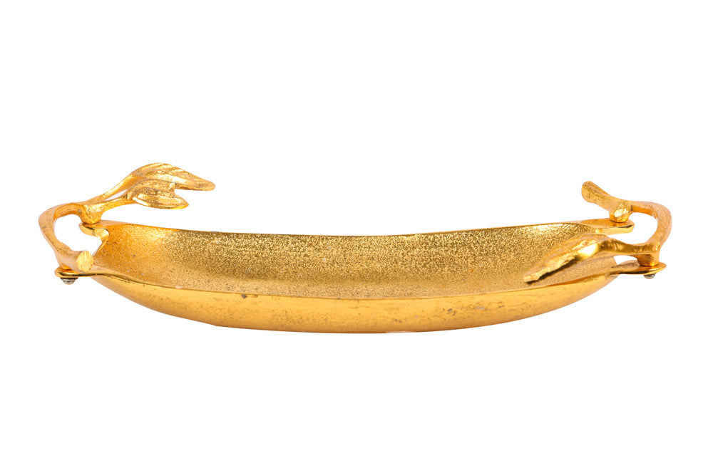 Gold Tray with Leaf