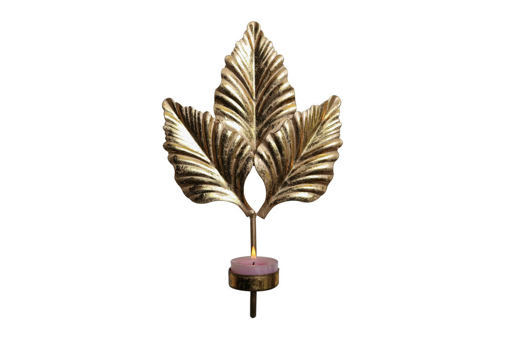 Gold Leaf Candle Stand
