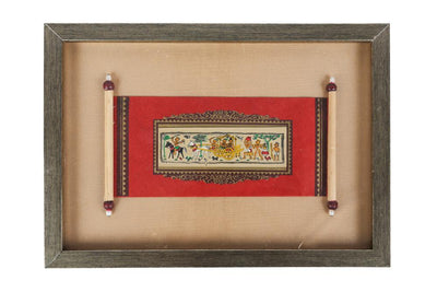 From the ancient art form of Orissa, Madhubani paintings are hand painted on a gold leaf base, rolled in form of an old letter and framed.