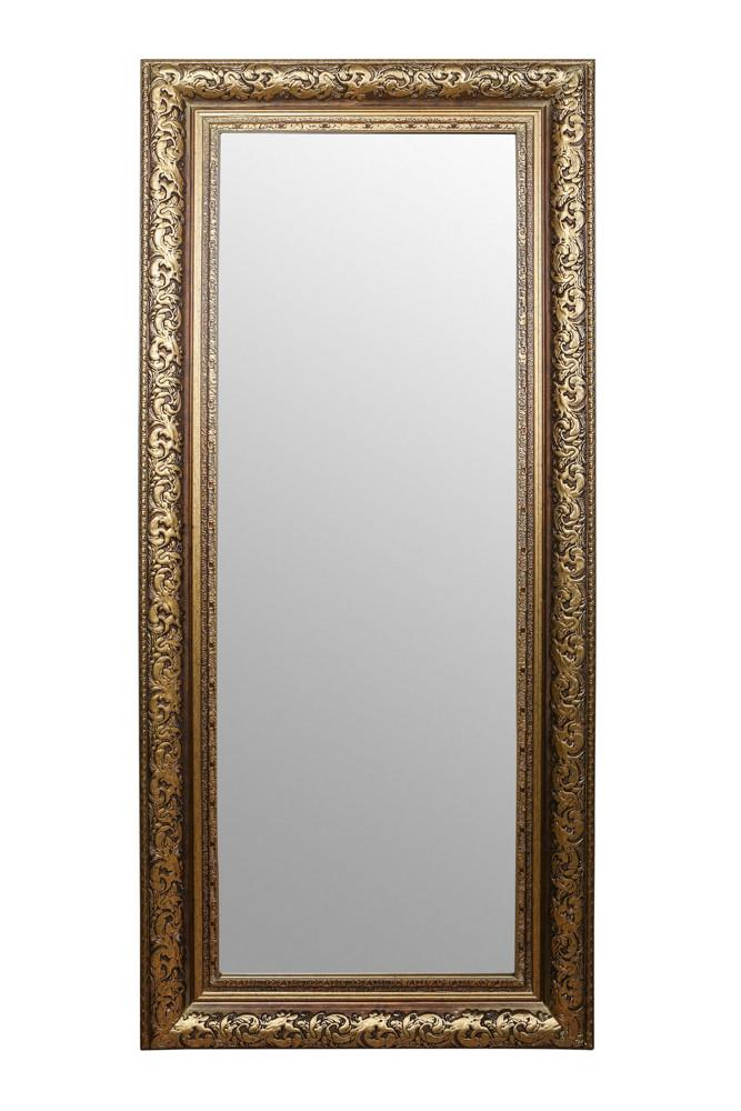 A Tall Wall/ floor standing mirror with a detailed & handcrafted rustic gold frame perfect for traditional or contemporary interiors.