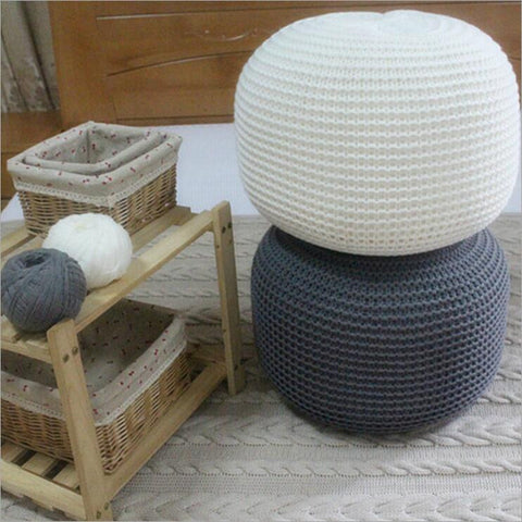 Boho Cable Knit Pouf