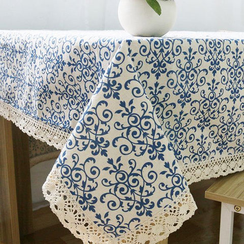 Retro Blue and White Table Cloth