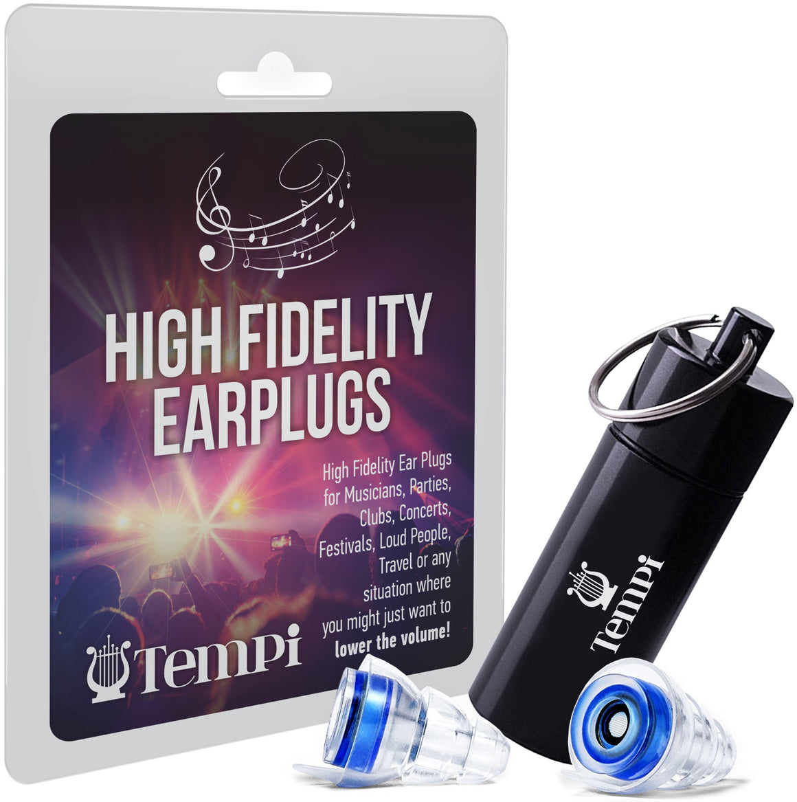 Tempi High-Fidelity Noise Filtering Earplugs (Blue)