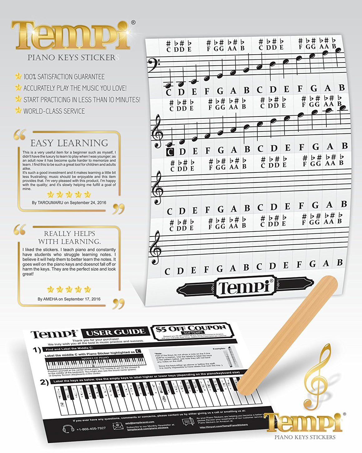 56 Piano Stickers Notes for Keyboard and Piano Music Practice Tools for Musicians and Pianists
