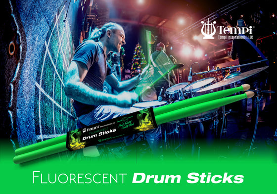 Tempi Fluorescent Drum Sticks for Drummers American Hickory Size: 5A | 1 PAIR (Neon Green)