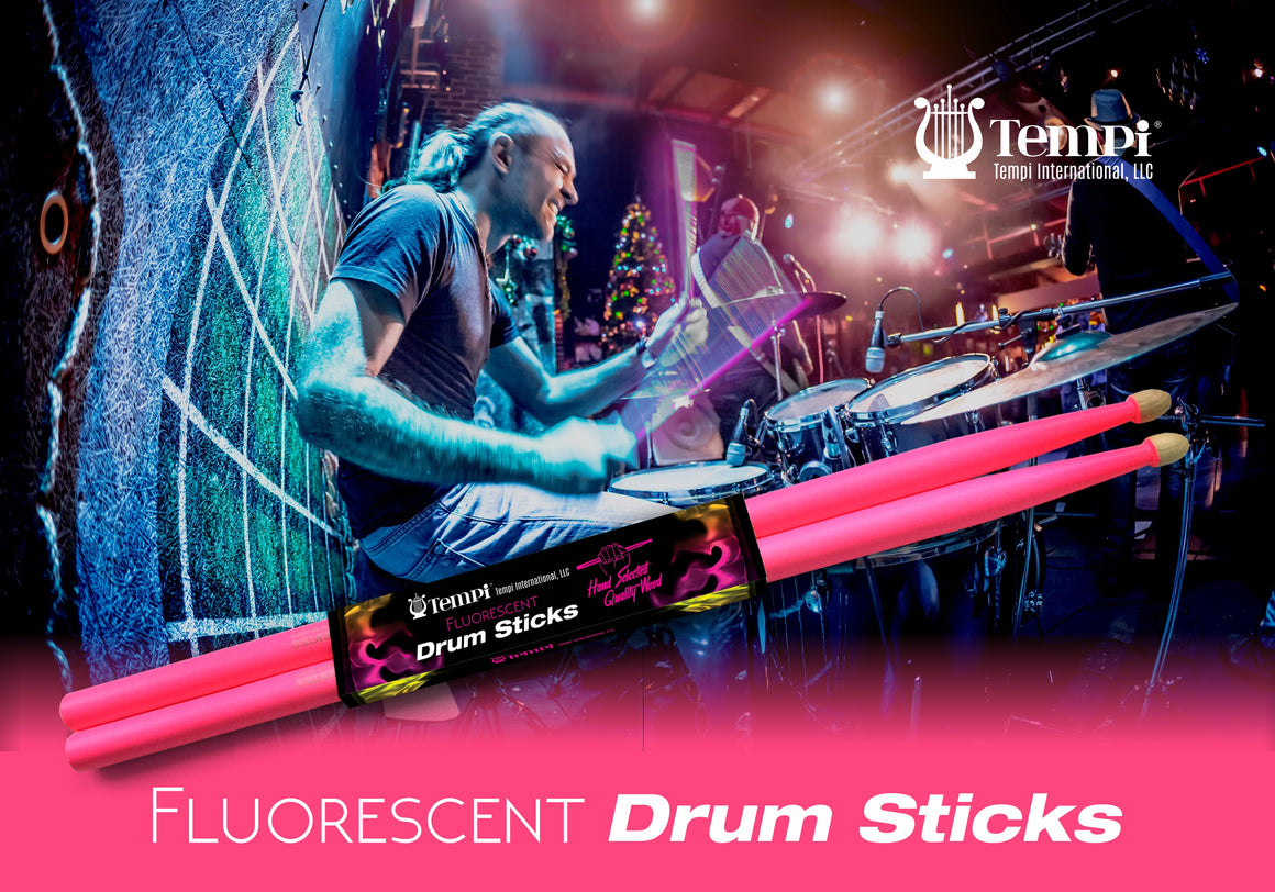 Tempi Fluorescent Drum Sticks for Drummers American Hickory Size: 5A | 3 PAIRS