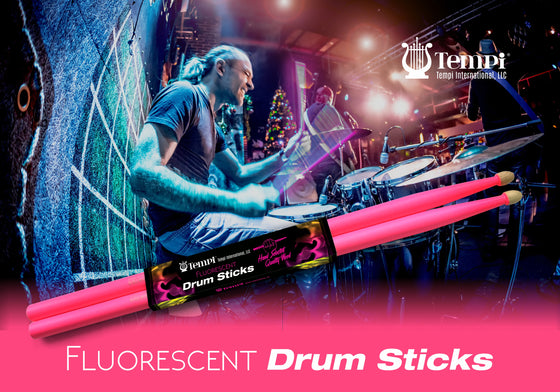 Tempi Fluorescent Drum Sticks for Drummers American Hickory Size: 5A | 1 PAIR (Neon Pink)