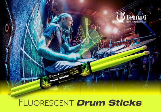 Tempi Fluorescent Drum Sticks for Drummers American Hickory Size: 5A | 1 PAIR (Neon Yellow)
