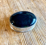 Silver and onyx pill box