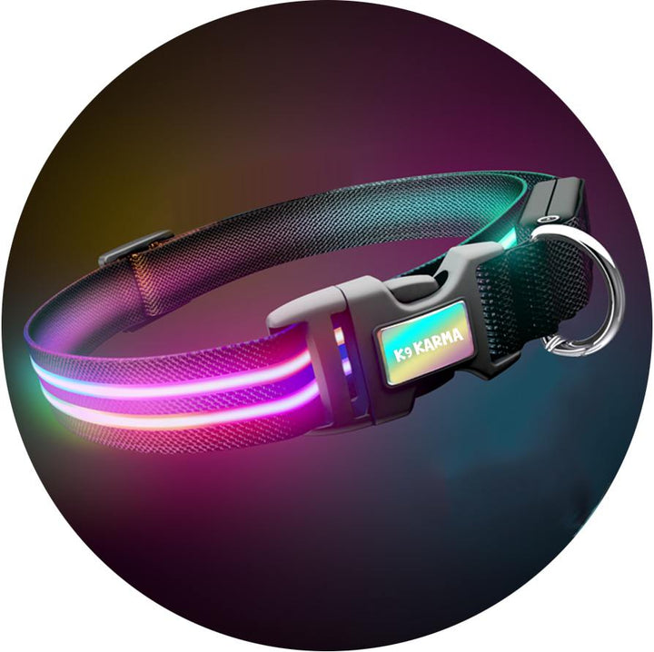 Ultimate Dual Rainbow Light Up LED Dog Collar