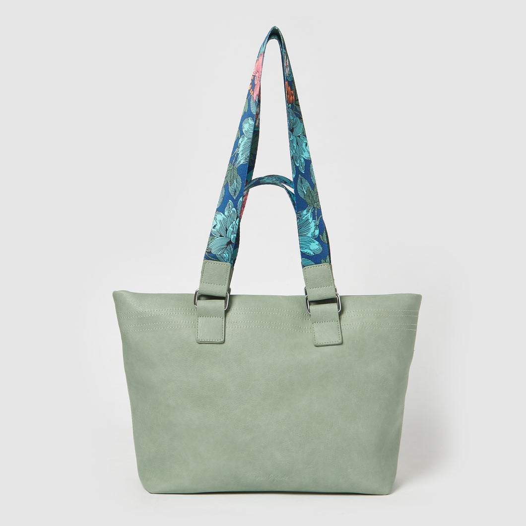 Dragonfly Floral Tote by Urban Originals - Green