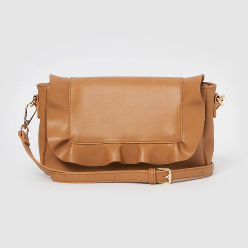 Frill Vegan Clutch by Urban Originals - Tan