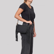 Fringed Baby Crossbody bag - Black