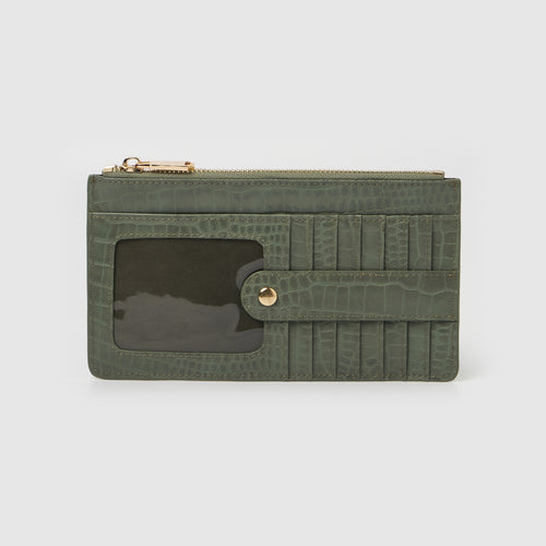 Hold Me Wallet - Green Crocodile