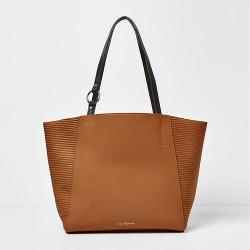 Splendour Tote- Tan/Black