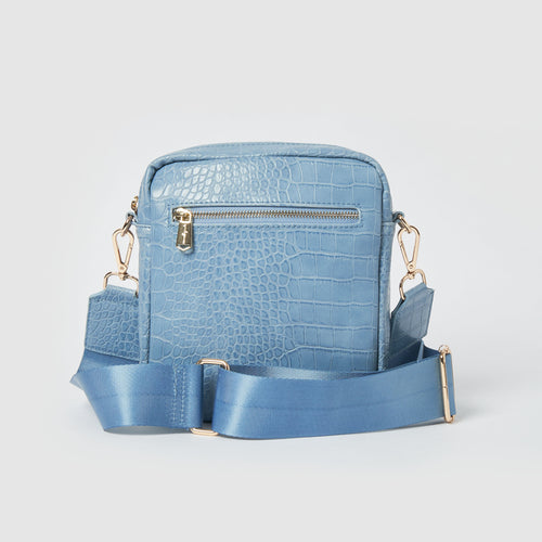 Catch Up Vegan Crossbody Bag - Blue Croc