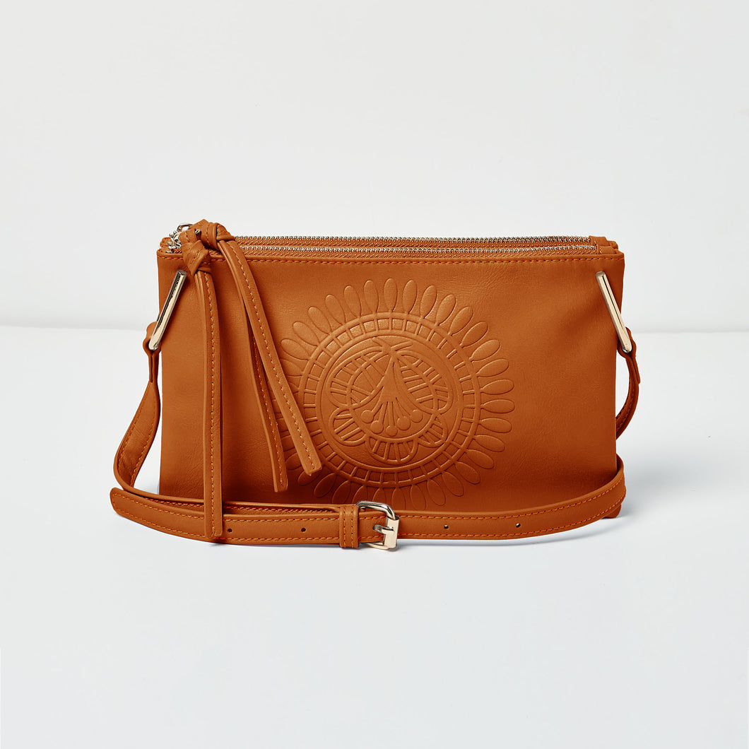 Flower Cross Body - Tan