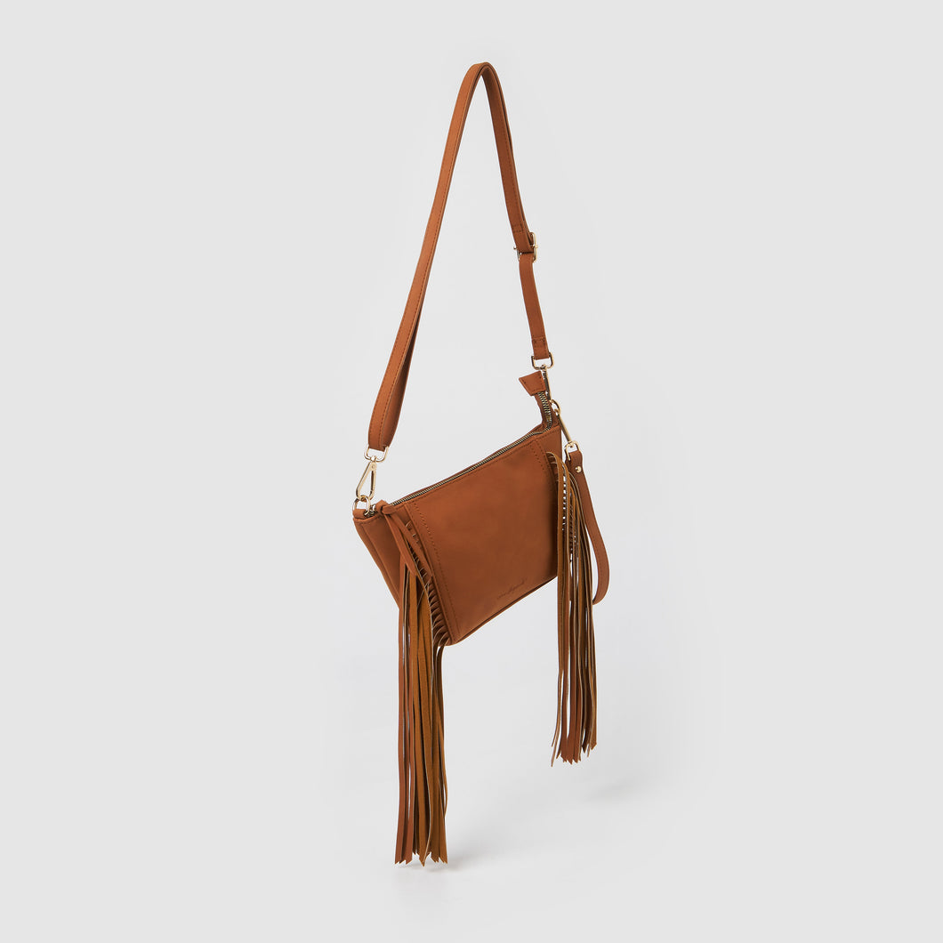 Fringed Baby Crossbody Bag - Tan
