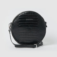 Magnolia Vegan Crocodile Crossbody Bag - Black