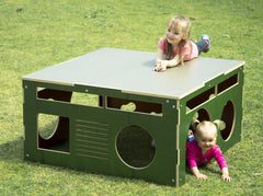 Movable playground equipment plywood cube