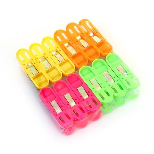 1368 Cloth Drying Non-Slip Light Plastic Clips  (Multicolour) (Pack of 12) - DeoDap