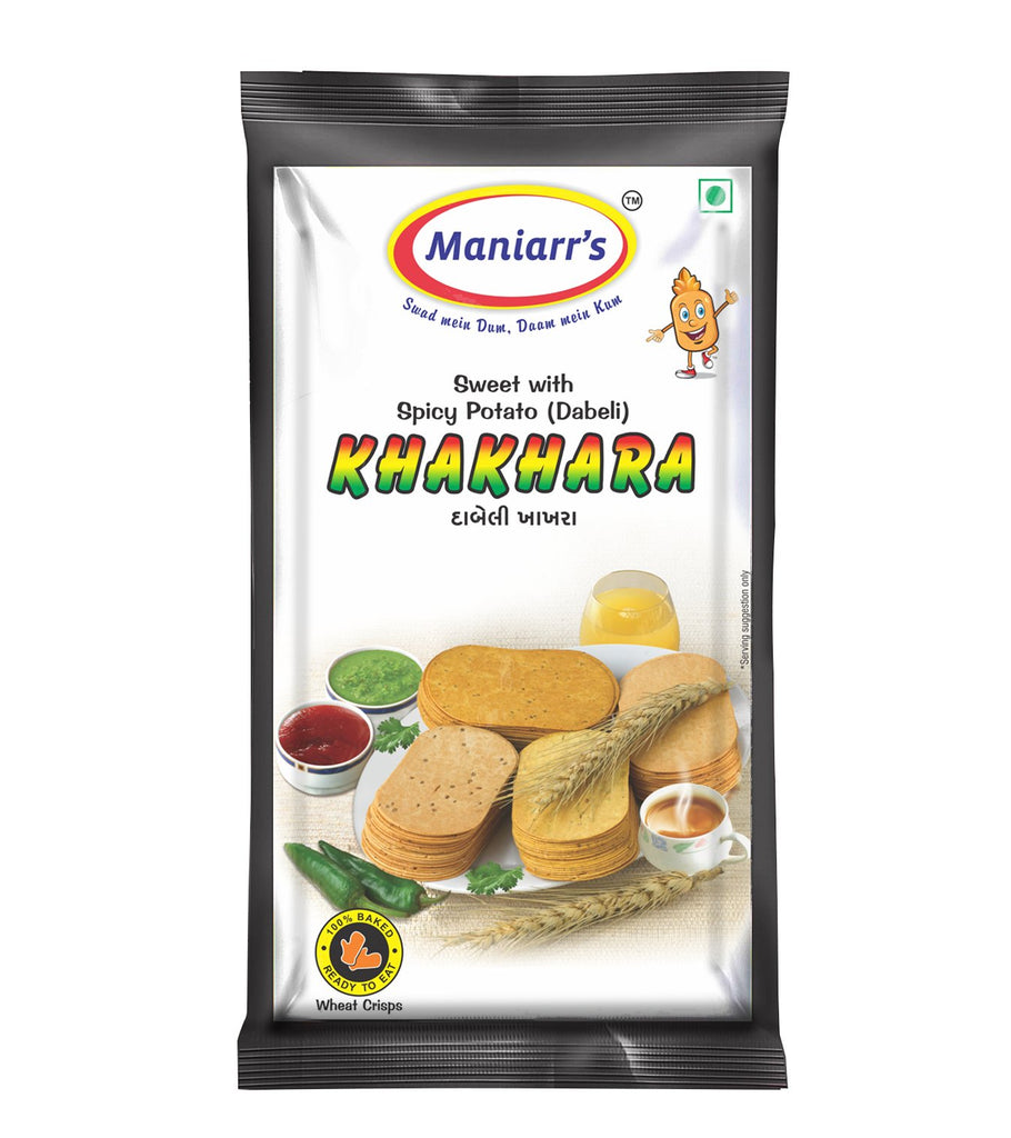 Maniarrs Dabeli Khakhra (8 Packs, Single Flavor, 360 Gms), (Crunchy Khakhra)