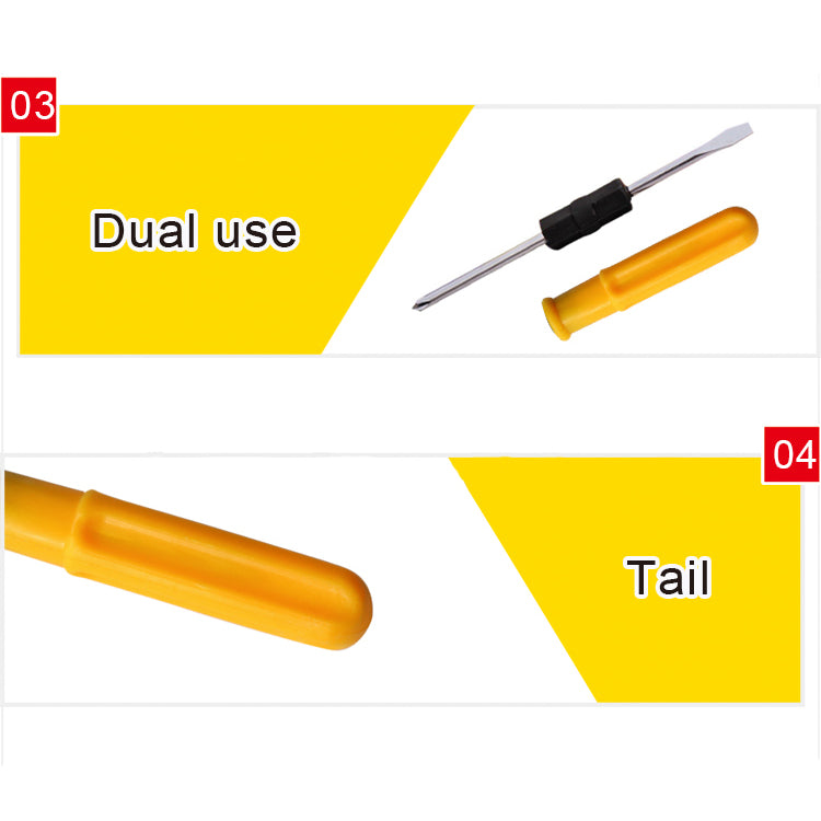 0600 Mini Pocket Size 2 in 1 Slotted Cross Head Double Sided Flat Magnetic Screwdriver with PVC Plastic Coated Handle - DeoDap