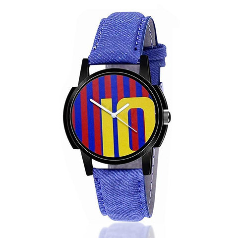 1802 Unique & Premium Analogue Watch 10 Messi Print Multicolour Dial Leather Strap (Watch 2) - DeoDap