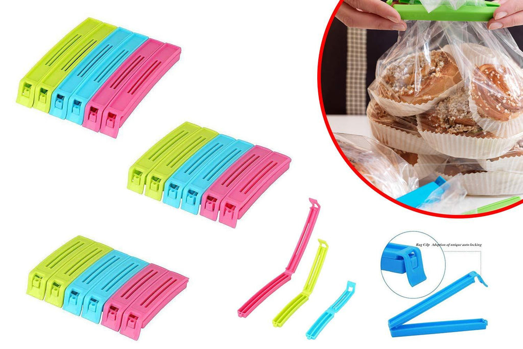 0105 Plastic Snack Bag Clip Sealer Set (18 Pcs, Multicolour) - DeoDap