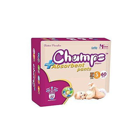 0951 Premium Champs High Absorbent Pant Style Diaper Small Size, 60 Pieces (951_Small_60) - DeoDap
