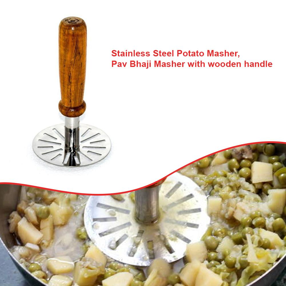 0064 Stainless Steel Potato Masher, Pav Bhaji Masher with wooden handle - DeoDap