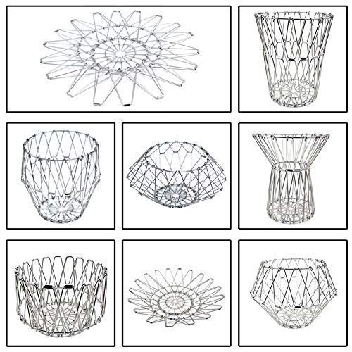 3040 Multipurpose Fruit Basket Stainless Steel Wire Bowl Foldable Basket for Vegetable / Fruits / Dining - DeoDap